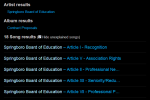 The search results contain the artists, albums, and tracks associated with the Springboro Board of Education.